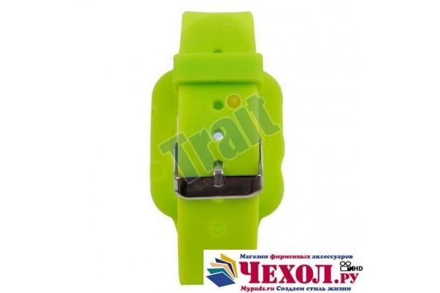 Фирменный сменный силиконовый ремешок для умных смарт-часов Apple Watch 38mm зелёного цвета