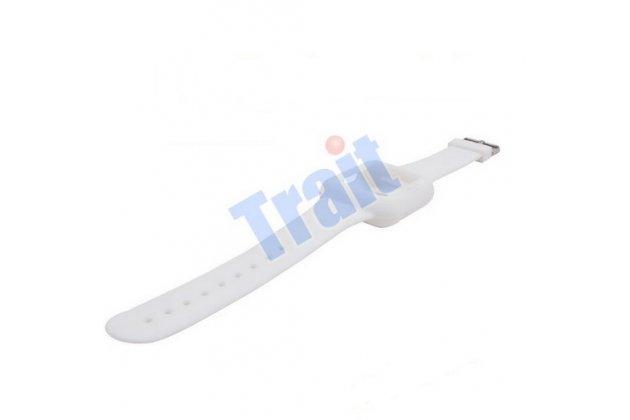 Фирменный сменный силиконовый ремешок для умных смарт-часов Apple Watch 42mm белого цвета