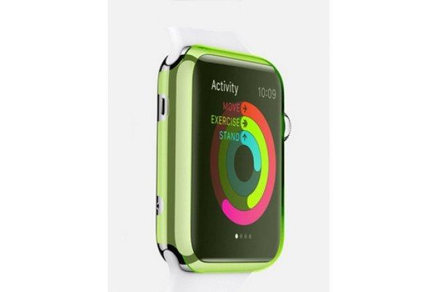 Фирменный ультра-тонкий пластиковый чехол-кейс-пенал для умных смарт-часов Apple Watch 42mm зелёного цвета