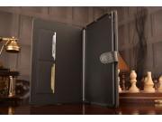 Фирменный чехол-книжка из качественной импортной кожи с подставкой застёжкой и визитницей для Айпад Аир 1 черн..