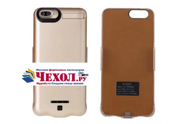 """Чехол-бампер со встроенной усиленной мощной батарей-аккумулятором большой повышенной расширенной ёмкости 10000mAh для Iphone 7 Plus 5.5"""" / iPhone 8 Plus золотой + гарантия"""