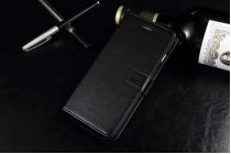 """Фирменный чехол-книжка из качественной импортной кожи с подставкой застёжкой и визитницей для iPhone 7 Plus 5.5"""" / iPhone 8 Plus черный"""