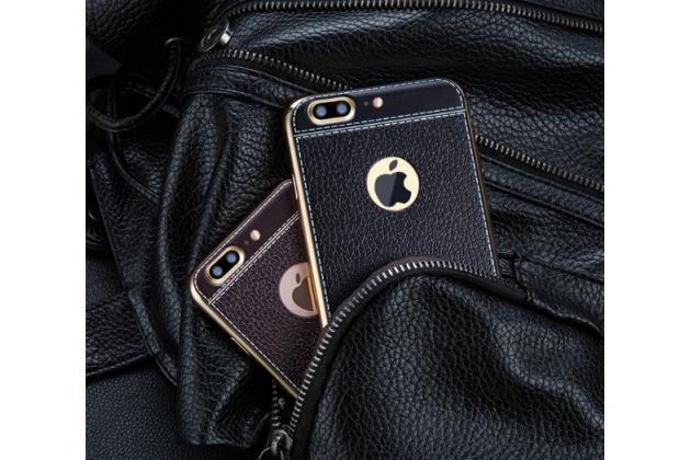 Фирменная премиальная элитная крышка-накладка на iPhone 7 plus 5.5 / iPhone 8 Plus черная из качественного силикона с дизайном под кожу