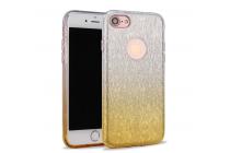 """Фирменная ультра-тонкая полимерная задняя панель-чехол-накладка из силикона для  iPhone 7 plus 5.5""""  прозрачная  с эффектом песка"""