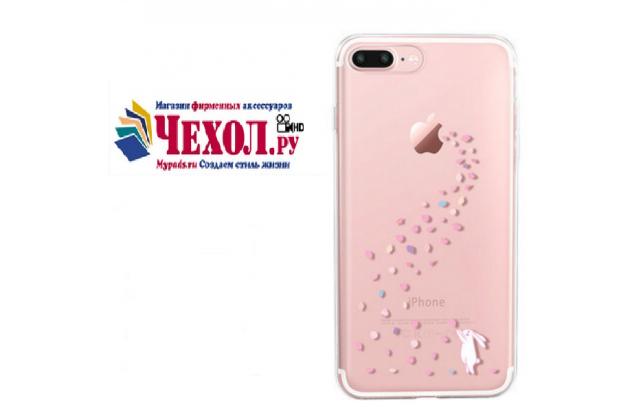 """Фирменная ультра-тонкая силиконовая задняя панель-чехол-накладка для iPhone 7 plus 5.5"""" /  iPhone 8 Plus прозрачная с рисунком """"Яблочный дождь"""" которая огибает логотип чтобы была видна марка телефона"""