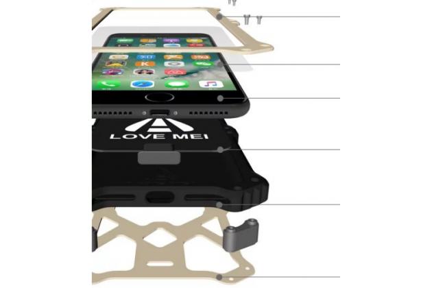 """Противоударный металлический чехол-бампер из цельного куска металла с усиленной защитой углов и необычным экстремальным дизайном с функцией беспроводной зарядки  для  Iphone 7 Plus 5.5"""" / iPhone 8 Plus черного цвета"""