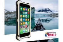 """Противоударный металлический чехол-бампер из цельного куска металла с усиленной защитой углов и необычным экстремальным дизайном с функцией беспроводной зарядки  для  Iphone 7 Plus 5.5""""/ iPhone 8 Plus серебряного цвета"""