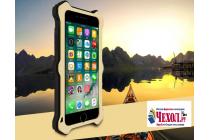 """Противоударный металлический чехол-бампер из цельного куска металла с усиленной защитой углов и необычным экстремальным дизайном с функцией беспроводной зарядки длям Iphone 7 Plus 5.5"""" / iPhone 8 Plus желтого цвета"""
