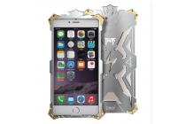 """Противоударный металлический чехол-бампер из цельного куска металла с усиленной защитой углов и необычным экстремальным дизайном  для iPhone 7 plus 5.5"""" /  iPhone 8 Plus серебряного цвета"""