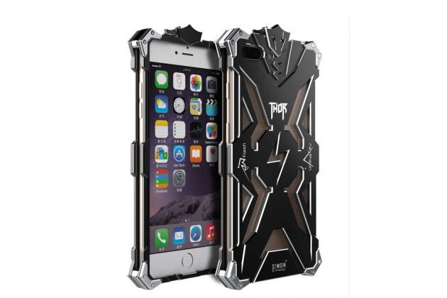 """Противоударный усиленный ударопрочный фирменный чехол-бампер на металлической основе для iPhone 7 plus 5.5"""" /  iPhone 8 Plus черного цвета"""