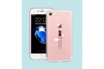 """Фирменная ультра-тонкая силиконовая задняя панель-чехол-накладка для iPhone 7 4.7"""" прозрачная с рисунком """"лестница в облака"""" которая огибает логотип чтобы была видна марка телефона"""