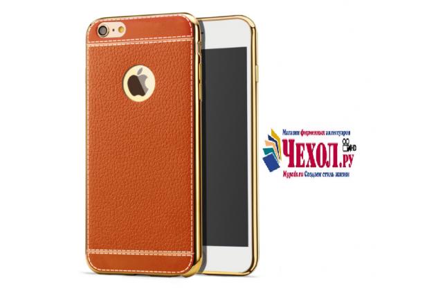 """Фирменная премиальная элитная крышка-накладка из качественного силикона с дизайном под кожу для iPhone 7 4.7""""/ iPhone 8 коричневая"""