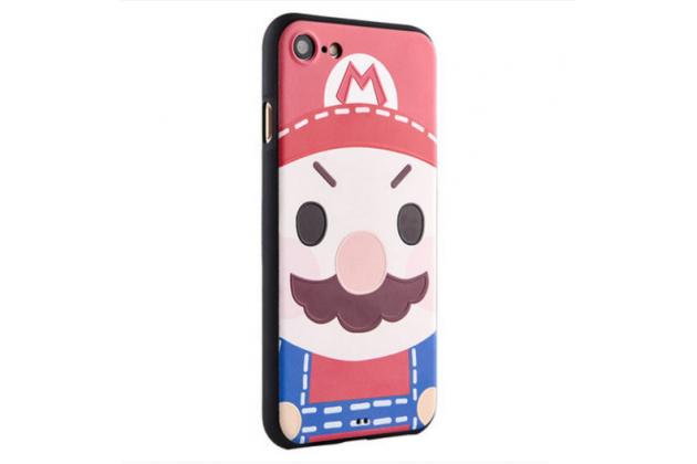 """Фирменная уникальная задняя панель-крышка-накладка из тончайшего силикона для iPhone 7 4.7""""/ iPhone 8 с объёмным 3D рисунком """"тематика Марио"""""""