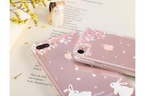 """Фирменная ультра-тонкая силиконовая задняя панель-чехол-накладка для iPhone 7 4.7"""" прозрачная с рисунком """"Яблочный дождь"""" которая огибает логотип чтобы была видна марка телефона"""