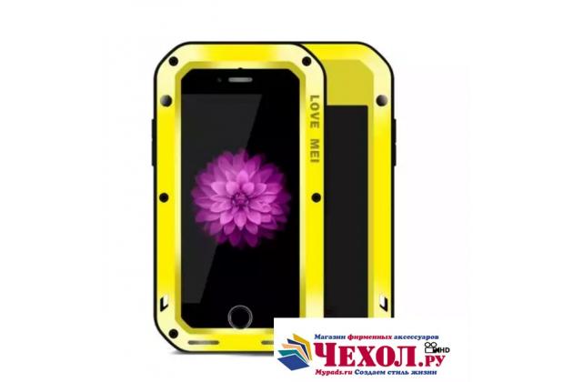 """Неубиваемый водостойкий противоударный водонепроницаемый грязестойкий влагозащитный ударопрочный фирменный чехол-бампер для iPhone 7 4.7""""/ iPhone 8 цельно-металлический со стеклом Gorilla Glass желтый"""