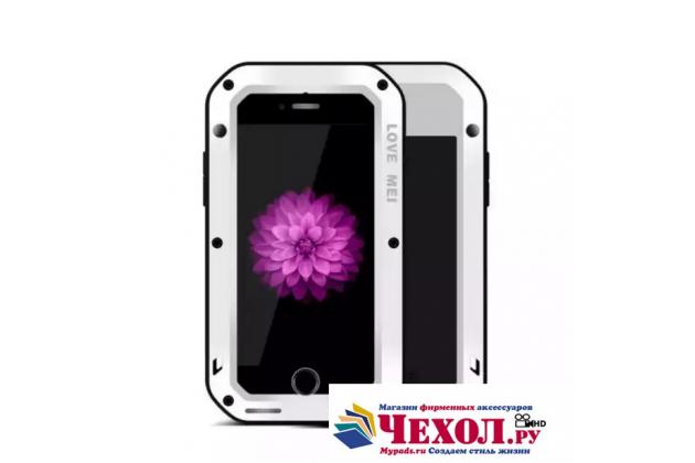 """Неубиваемый водостойкий противоударный водонепроницаемый грязестойкий влагозащитный ударопрочный фирменный чехол-бампер для iPhone 7 4.7""""/ iPhone 8 цельно-металлический со стеклом Gorilla Glass белый"""