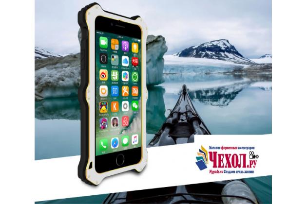 """Противоударный металлический чехол-бампер из цельного куска металла с усиленной защитой углов и необычным экстремальным дизайном с функцией беспроводной зарядки  для  iPhone 7 4.7""""/ iPhone 8 серебряного цвета"""