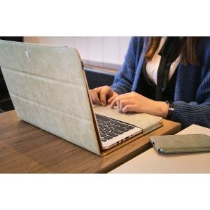 """Фирменный премиальный чехол-обложка  с подставкой для Apple MacBook Pro 13 with Retina display Mid 2014 (MGX92  / MGX72  / MGX82 ) 13.3"""" из натуральной кожи серый"""