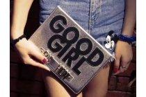 "Чехол для iPad 2/3/4 ""тематика Good Girl"" серебристый кожаный"