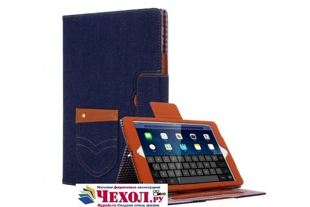 Фирменный чехол-обложка для iPad 2/3/4 синий из настоящей джинсы с кармашком для iPhone