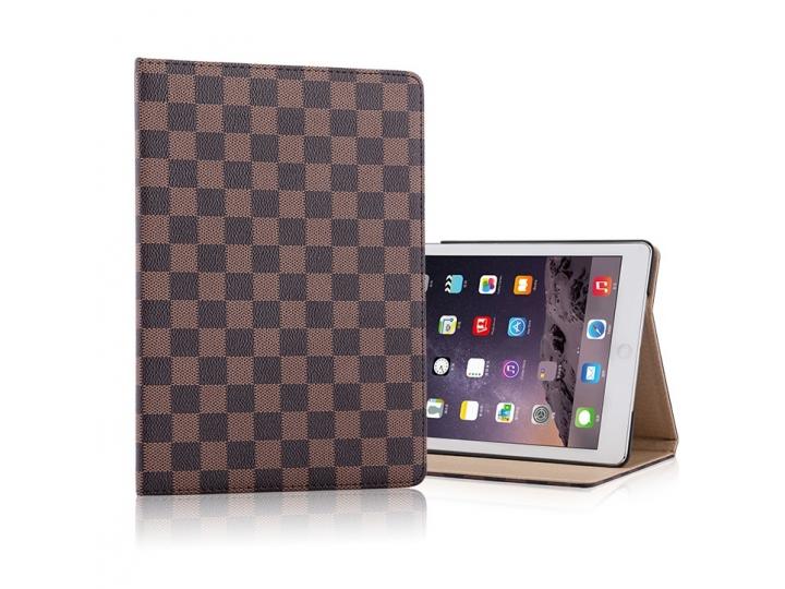 Фирменный чехол-обложка для iPad Mini 2 retina/ iPad Mini 3 в клетку коричневый кожаный..