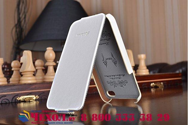 """Фирменный оригинальный вертикальный откидной чехол-флип для iPhone 4/4S белый кожаный """"Prestige"""" Италия"""