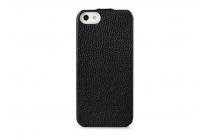 Фирменный оригинальный вертикальный откидной чехол-флип для iPhone 4/4S черный кожаный