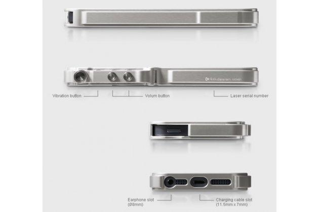 Фирменная серебристая металлическая задняя панель-крышка-накладка из тончайшего облегченного авиационного алюминия для iPhone 4/4S с объёмным 3D рисунком и металлическим кодовым замком