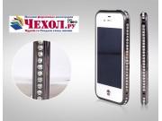 Фирменный роскошный ультра-тонкий чехол-бампер безумно красивый декорированный кристаликами для iPhone 4/4S че..