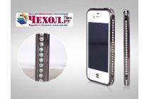 Фирменный роскошный ультра-тонкий чехол-бампер безумно красивый декорированный кристаликами для iPhone 4/4S черный металлический