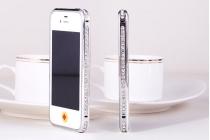 Фирменный роскошный ультра-тонкий чехол-бампер безумно красивый декорированный кристаликами для iPhone 4/4S серебряный металлический