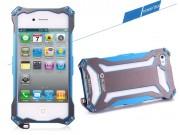 Противоударный усиленный ударопрочный фирменный чехол-бампер на металлической основе для iPhone 4/4S синего цв..