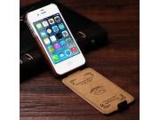 Фирменный оригинальный вертикальный откидной чехол-флип для iPhone 4/4S коричневый кожаный