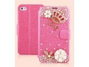 Фирменный роскошный чехол-книжка безумно красивый декорированный бусинками и кристаликами на iPhone 4/4S розов..