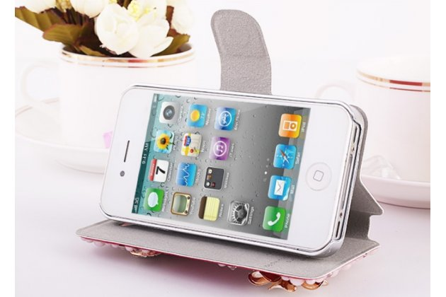 Фирменный роскошный чехол-книжка безумно красивый декорированный бусинками и кристаликами на iPhone 4/4S розовый