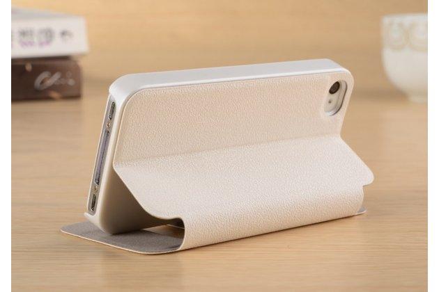 Фирменный чехол-книжка для iPhone 4/4S белый с окошком для входящих вызовов и свайпом водоотталкивающий