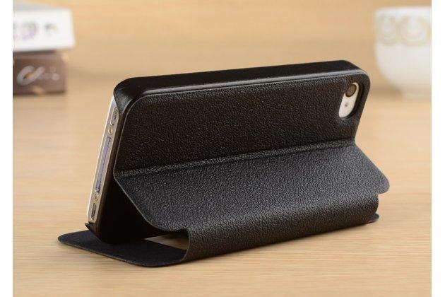 Фирменный чехол-книжка для iPhone 4/4S черный с окошком для входящих вызовов и свайпом водоотталкивающий