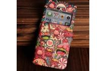 Фирменный чехол-книжка с безумно красивым расписным кислотным-мульти-рисунком на iPhone 4/4S с окошком для звонков