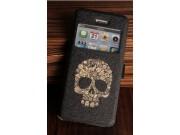 Фирменный чехол-книжка с безумно красивым расписным рисунком черепа на iPhone 4/4S с окошком для звонков..