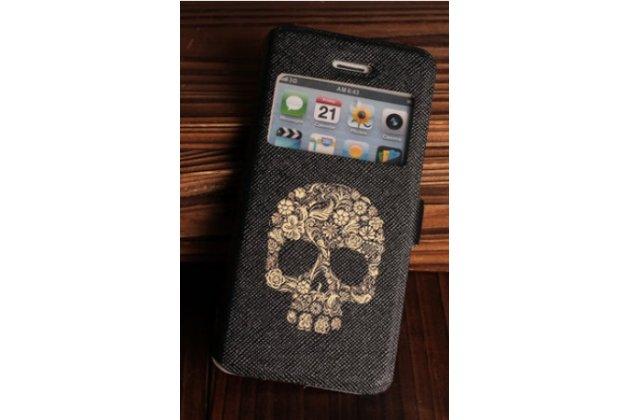 Фирменный чехол-книжка с безумно красивым расписным рисунком черепа на iPhone 4/4S с окошком для звонков