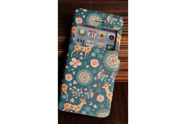 Фирменный чехол-книжка с безумно красивым расписным рисунком Оленя в цветах на iPhone 4/4S с окошком для звонков