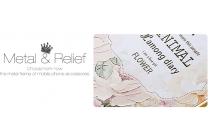 """Фирменная золотая металлическая задняя панель-крышка-накладка из тончайшего облегченного авиационного алюминия для iPhone 4/4S с объёмным 3D рисунком """"тематика королевские Розы"""""""