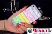 Фирменная роскошная элитная пластиковая задняя панель-накладка украшенная стразами кристалликами и декорированная элементами для iPhone 4/4S радужная