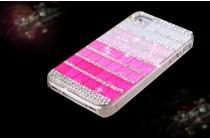 Фирменная роскошная элитная пластиковая задняя панель-накладка украшенная стразами кристалликами и декорированная элементами для iPhone 4/4S розовая