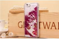 Фирменная роскошная элитная пластиковая задняя панель-накладка украшенная стразами кристалликами со втроенным АКВАРИУМОМ для iPhone 4/4S фиолетовая