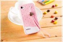 """Фирменная необычная уникальная полимерная мягкая задняя панель-чехол-накладка для iPhone 4/4S """"тематика Андроид в клубничном шоколаде"""""""