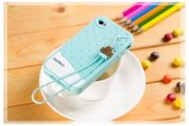 """Фирменная необычная уникальная полимерная мягкая задняя панель-чехол-накладка для iPhone 4/4S """"тематика Андроид в мятном шоколаде"""""""