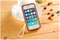 """Фирменная необычная уникальная полимерная мягкая задняя панель-чехол-накладка для iPhone 4/4S """"тематика Андроид в тёмном Шоколаде"""""""