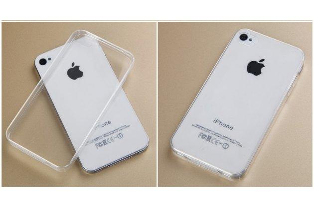 Фирменная ультра-тонкая полимерная из мягкого качественного силикона задняя панель-чехол-накладка для  iPhone 4/4S белая
