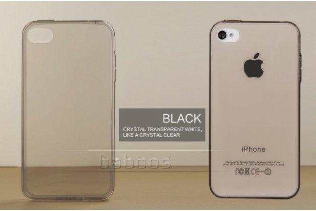 Фирменная ультра-тонкая полимерная из мягкого качественного силикона задняя панель-чехол-накладка для  iPhone 4/4S черная